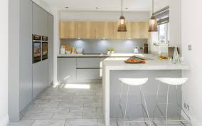 Kitchen Designers Halifax Glacier Super Matt Dust Grey Mfc Natural Halifax Oak