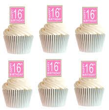 12pk Happy 16th Birthday Burlap Brown Pink Cupcake Decoration