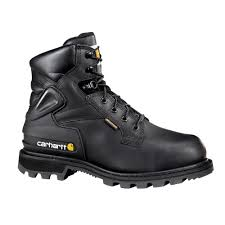 carhartt men s 13w black leather waterproof lug bottom internal met guard steel safety toe 6 in lace up work boot cmw6610 13w the home depot