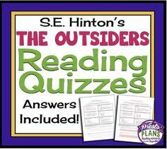 outsiders reading questions answer key printable  outsiders s e hinton printable reading quizzes detailed answer key from