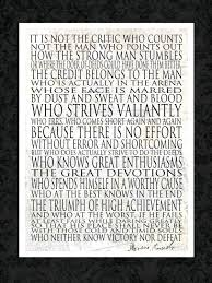 Man In The Arena Motivational Quote Greeting Card 5x7 Theodore