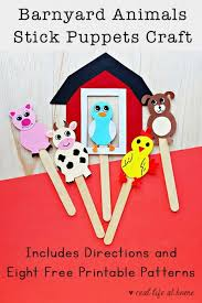 Animal Patterns To Trace Farm Animal Stick Puppets Craft With Free Printable Patterns