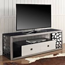 modern mosaic  inch steel tv stand  brushed silver  drawers