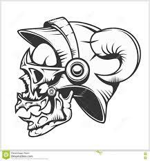 татуировка черепа и племенной дизайн на белизне иллюстрация