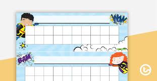 Superheroes Desk Reward Chart Teaching Resource Teach