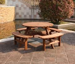 wooden picnic table and chairs westwood 8 seater pub bench round