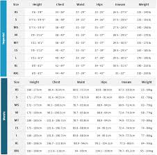Systematic Quicksilver Wetsuit Sizing Chart Draco Drysuit