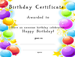 Birthday Certificate Templates Free Printable wwwcertificatetemplateorgHappy Birthday Certificate for your Kids 1