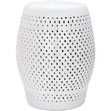 safavieh 18 5 in white ceramic barrel garden stool
