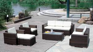 astonishing dark brown rectangle modern wooden resin wicker patio furniture clearance varnished design ideas mesmerize white wicker outdoor furniture sale satisfying Porch Step Railing momentous white