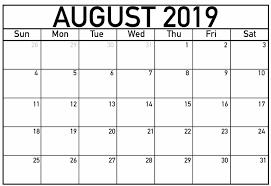 August Calandar Monthly August 2019 Calendar Template Printable Net Market