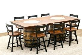 whiskey barrel table whiskey double barrel table with 8 post mission 2 slat bar chairs whiskey