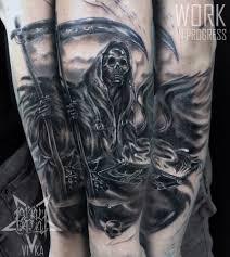 смерть с косой тату рукав сделать тату у мастера вики салон Playpain