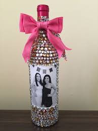 bedazzled wine bottle with photos