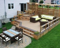 Wood patio ideas Backyard Backyard Dwell Backyard Wood Deck Wood Deck Ideas Best Wood Patio Ideas On Decks