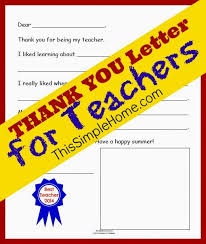 This Simple Home: Teacher Thank You Letter {Free Printable}