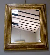 wood mirror frame. 19th Century Spanish Ribbed Gold Gilt Wide Wood Frame Mirror. The Width Of Mirror