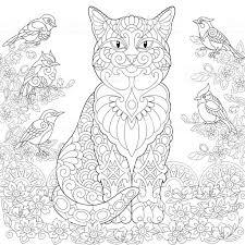 Kleurplaat Van Katten En Vogels Stockvectorkunst En Meer Beelden Van