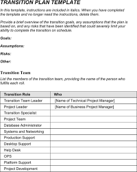 Transition Plan Template | Templates&forms | Pinterest | Template