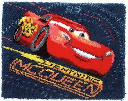 latch hook rug lightning mcqueen screeching tyres disney kit by