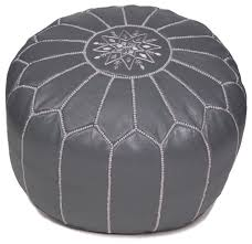 gray moroccan leather pouf white stitching unstuffed mediterranean floor pillows and poufs by moroccan buzz imports
