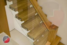 oak staircase with glass barade side mounted brackets