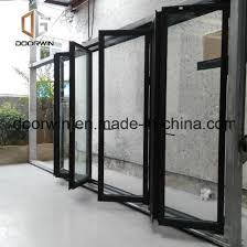 european style aluminum bifolding door with internal blinds