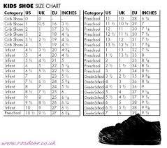 Nike Junior Shoes Size Chart 65 True Kids Shose Size Chart