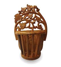 Small Picture Buy Beautiful Wooden Hand Carved Wall Hanging Flower Vase Home