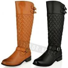 WOMENS LADIES FLAT KNEE HIGH QUILTED RIDING BLACK TAN CALF WINTER ... & Image is loading WOMENS-LADIES-FLAT-KNEE-HIGH-QUILTED-RIDING-BLACK- Adamdwight.com