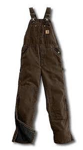 Carhartt Dark Brown Quilt Lined Sandstone Bib Overall &  Adamdwight.com