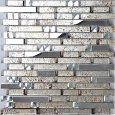 kitchen backsplash stainless steel tiles: stainless steel tile glass mosaic kitchen backsplash tiles ssmt cream glass mosaic stainless steel mosaic glass