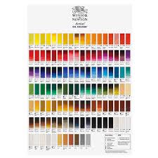 Winsor Newton Artists Oil Paint Hand Painted Colour Chart