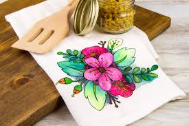 Kitchen Towel Craft Floral Coloring Book Styled Diy Tea Towel Diycandycom