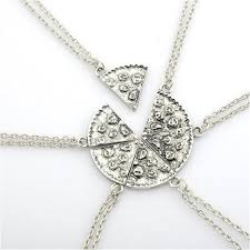 f necklace pizza best friend necklaces pendant friendship jewelry charm 6pcs