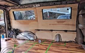 diy van conversion installing plywood