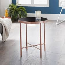 patina round metal table rose gold
