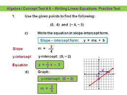 algebra i concept test 8 writing linear equations practice