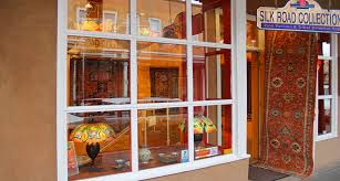 silk road collections entrance in santa fe new mexico persian and turkish antique oriental rugs