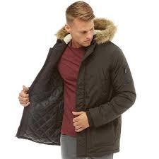 fluid mens parka jacket black