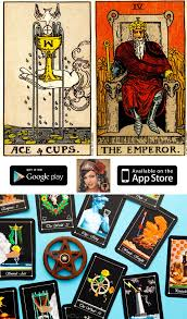 Tarot cards: ace of cups & the emperor.