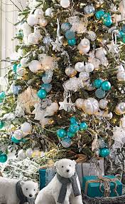 Christmas Tree Grandin Road with Turquoise and White Ornaments ...