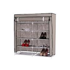 double side shoe rack with dustproof cover closet shoe storage cabinet organizer
