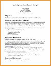 Marketing Coordinator Resume Sample Bio Letter Format