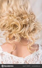 Blondýna S Krásnou Svatební účes Zblízka Snadné Lokny Na Blond