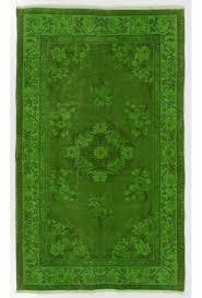 4 x 6 6 122 x 204 cm green color vintage overdyed handmade turkish rug green overdyed rug