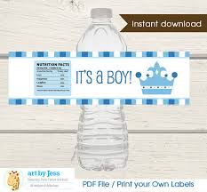 Prince Water Bottle Labels  Boy Baby Shower Favor  LittleBaby Boy Shower Water Bottle Labels