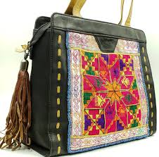 embroidered banjara black leather bag banjara tote bag boho bag boho leather bag boho tote bag banjara tote tribal gifts for her