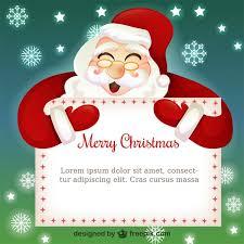 Christmas Card Template With Santa Claus Cartoon Vector