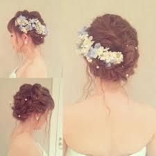 おくれ毛編み込みヘアwedding花嫁ヘアメイクヘアセットブライダル